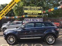 USED 2012 12 LAND ROVER RANGE ROVER EVOQUE 2.2 SD4 PRESTIGE LUX 5d AUTO 190 BHP LOCAL OWNER,  LAND ROVER SERVICE HISTORY, STUNNING METALLIC LOIRE BLUE PAINT WORK, EBONY LEATHER INTERIOR WHITE STITCHING, 19 INCH ALLOY WHEELS, 360 CAMERA, PARKING SENSORS, PAN ROOF, SAT NAV, TV TUNER, BLUE TOOTH, CD, A/C, HEATED FRONT ELECTRIC SEATS, DRIVER  ELECTRIC MEMORY SEAT, BLIND SPOT WARNING.