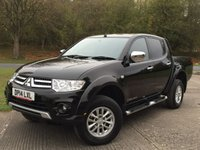 USED 2014 14 MITSUBISHI L200 2.5 DI-D 4X4 TROJAN DCB 1d 175 BHP LOAD LINER KIT ONE OWNER FSH NO FINANCE REPAYMENTS FOR 2 MONTHS STC. COMMERCIAL (£11300+2260VAT). 4WD. STUNNING BLACK MET WITH GREY CLOTH TRIM. RUNNING BOARDS. AIR CON. 16 INCH ALLOYS. COLOUR CODED TRIMS. LOAD LINER KIT. PAS. R/CD PLAYER. MFSW. TOWBAR. MOT 08/18. ONE OWNER FROM NEW. FULL SERVICE HISTORY. FCA FINANCE APPROVED DEALER. TEL 01937 849492