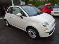 USED 2014 64 FIAT 500 1.2 CONVERTIBLE LOUNGE 3d 69 BHP One Lady Owner from new, Full Service History (Fiat + ourselves), MOT until October 2018 (no advisories), Great on fuel! Only £30 Road Tax!