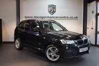 USED 2013 62 BMW X3 2.0 XDRIVE20D M SPORT 5DR AUTO 181 BHP + FULL BLACK LEATHER INTERIOR + PRO SATELLITE NAVIGATION + HEATED SPORT SEATS + BLUETOOTH + FULL SERVICE HISTORY + CRUISE CONTROL + PARKING SENSORS + 18 INCH ALLOY WHEELS +