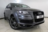 USED 2013 13 AUDI Q7 3.0 TDI QUATTRO S LINE PLUS 5DR AUTOMATIC 245 BHP FULL SERVICE HISTORY + HEATED LEATHER SEATS + SAT NAVIGATION + REVERSE CAMERA + BLUETOOTH + CRUISE CONTROL + MULTI FUNCTION WHEEL + CLIMATE CONTROL + 21 INCH ALLOY WHEELS