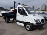 USED 2015 15 MERCEDES-BENZ SPRINTER 313 CDI MWB TIPPER, 130 BHP [EURO 5], FULL SERVICE HISTORY, 1 COMPANY OWNER