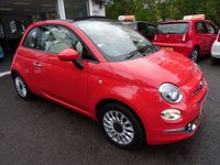 USED 2015 65 FIAT 500 1.2 CONVERTIBLE LOUNGE 3d 69 BHP *RARE COLOUR - SOLID GLAM CORAL** NEW SHAPE ** Convertible, Just Serviced by ourselves, One Previous Owner, Excellent on fuel economy! Only £20 Road Tax! Balance Fiat Warranty until 2018