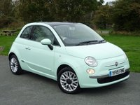 USED 2015 15 FIAT 500 1.2 LOUNGE 3d 69 BHP WITH 1 YEAR FREE AA MEMBERSHIP**  BEAUTIFUL IN SMOOTH MINT GREEN