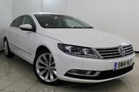 USED 2014 14 VOLKSWAGEN CC 2.0 GT TDI BLUEMOTION TECHNOLOGY 4DR 138 BHP FULL SERVICE HISTORY + HEATED LEATHER SEATS + SAT NAVIGATION + CRUISE CONTROL + MULTI FUNCTION WHEEL + ALLOY WHEELS
