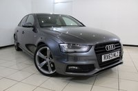 USED 2013 63 AUDI A4 2.0 TDI S LINE BLACK EDITION START/STOP 4DR 148 BHP SERVICE HISTORY + HALF LEATHER SEATS + SAT NAVIGATION + PARKING SENSOR + BLUETOOTH + CRUISE CONTROL + 19 INCH ALLOY WHEELS