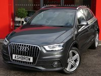 USED 2014 64 AUDI Q3 2.0 TDI QUATTRO S LINE PLUS 5d 177 S/S 1 OWNER FROM NEW, FULL SERVICE HISTORY, UPGRADE HEATED FRONT SEATS, UPGRADE NON SMOKING PACK, NAV, BLUETOOTH W/ AUDIO STREAMING, BLACK 1/2 LEATHER PERFORATED ALCANTARA, CRUISE, FRONT + REAR PARKING SENSORS W/ DISPLAY, DAB, AUDI MUSIC INTERFACE (AMI), 19 IN SEGMENT ALLOYS, PRIVACY GLASS, BI XENON HEADLIGHTS W/ LED DRL, QUATTRO 4X4, DUAL ZONE CLIMATE A/C, AUTO LIGHTS + WIPERS, TYRE PRESSURE MONITORING SYSTEM, SD X2, DIGITAL SPEED DISPLAY, ELECTRICALLY ADJUSTABLE HEATED DOOR MIRRORS, VAT QUALIFYING