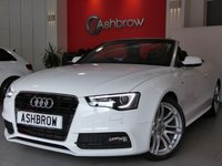 USED 2014 14 AUDI A5 CABRIOLET 2.0 TDI S LINE SPECIAL EDITION 2d AUTO 177 S/S UPGRADE FLAT BOTTOM MULTIFUNCTION TIPTRONIC STEERING WHEEL (PADDLE SHIFT), UPGRADE PIANO FINISH BLACK INLAYS, UPGRADE ELECTRIC HEATED FOLDING DOOR MIRRORS, HDD SAT NAV WITH DVD PLAYBACK & JUKEBOX, HEATED FRONT & REAR SEATS, BLUETOOTH PHONE & MUSIC STREAMING, DAB RADIO, WIRELESS LAN CONNECTION (WLAN), AUDI MUSIC INTERFACE FOR IPOD/USB DEVICES (AMI), FRONT FOG LIGHTS, FRONT & REAR PARKING SENSORS, REVERSING CAMERA, LED XENON LIGHTS, 19 INCH ALLOYS, FULL BLACK LEATHER INTERIOR, HEATED SEATS