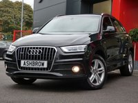 USED 2014 14 AUDI Q3 2.0 TDI QUATTRO S LINE 5d AUTO 177 S/S UPGRADE SAT NAV, UPGRADE HEATED FRONT SEATS, REAR ACOUSTIC PARKING SENSORS, BLUETOOTH PHONE & MUSIC STREAMING,  AUDI MUSIC INTERFACE FOR IPOD / USB DEVICES (AMI), AUTOMATIC GEARBOX, QUATTRO 4 WHEEL DRIVE, START STOP TECHNOLOGY, LED XENON LIGHTS, 18 INCH TWIN 5 SPOKE ALLOY WHEELS, BLACK 1/2 LEATHER INTERIOR, SPORT SEATS WITH ELECTRIC LUMBAR SUPPORT, LEATHER 3 SPOKE SPORTS MULTIFUNCTION TIPTRONIC STEERING WHEEL (PADDLE SHIFT), AUTO LIGHTS & WIPERS, DUAL CLIMATE AIR CON, FULL SERVICE HISTORY