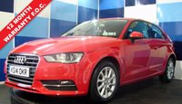 USED 2014 14 AUDI A3 1.4 TFSI SE 3d 121 BHP A very bright example of this highly sought after family hatchback  finished in unblemmished  red paintwork with contrasting silver alloys ,This car returns a very impressive 54.3 combined mpg with road tax at £30 a year .This car comes with bluetooth phone prep .media interface and lots more .
