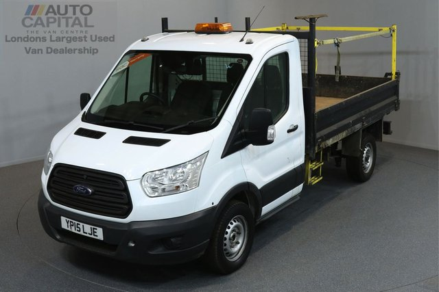 2015 15 FORD TRANSIT 2.2 350 C/C DRW 2d 124 BHP MWB REVERSE CAMERA TIPPER ONE OWNER FROM NEW