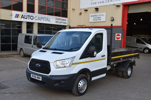 2016 66 FORD TRANSIT 2.2 350 C/C DRW 2d 124 BHP MWB L2H1 ULEZ COMPLIANT DRW RWD MANUAL 1-WAY TIPPER ONE OWNER S/H LOW MILEAGE VAN