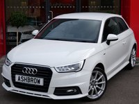USED 2015 65 AUDI A1 1.4 TFSI S LINE 3d AUTO 123 S/S UPGRADE REAR PARK DISTANCE CONTROL, UPGRADE PRIVACY GLASS, AUTOMATIC GEARBOX, START STOP TECHNOLOGY, LED XENON HEADLIGHTS, LED REAR LIGHTS, HEADLAMP WASHERS, FRONT FOG LIGHTS, S LINE BODY KIT, 17 INCH 10 SPOKE ALLOYS, BLACK 1/2 LEATHER INTERIOR, SPORT SEATS, LEATHER MULTIFUNCTION TIPTRONIC STEERING WHEEL (PADDLE SHIFT), AIR CONDITIONING, AUDI DRIVE SELECT, DAB RADIO, BLUETOOTH PHONE & MUSIC STREAMING, AUDI MUSIC INTERFACE, 1 OWNER FROM NEW, SERVICE HISTORY, BALANCE OF AUDI WARRANTY, £30 ROAD TAX