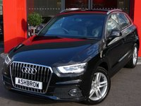 USED 2013 13 AUDI Q3 2.0 TDI S LINE 5d 140 S/S T NAV, REAR ACOUSTIC PARKING SENSORS, BLUETOOTH PHONE & MUSIC STREAMING, AUDI MUSIC INTERFACE FOR IPOD / USB DEVICES (AMI), PRIVACY GLASS, LED XENON LIGHTS, BLACK 1/2 LEATHER INTERIOR, SPORT SEATS WITH ELECTRIC LUMBAR SUPPORT, LEATHER 3 SPOKE SPORTS MULTIFUNCTION STEERING WHEEL, AUTO LIGHTS & WIPERS, DUAL CLIMATE AIR CON, AUDI SERVICE HISTORY