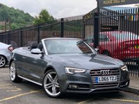 USED 2015 65 AUDI A5 3.0 S5 TFSI QUATTRO 2d AUTO 328 BHP STUNNING MONSOON GREY METALLIC PAINT, STUNNING BLACK AND WHITE S5 LEATHER, 19 INCH TWIN SPOKE ALLOYS, DVD, SAT NAV, FRONT AND REAR PARKING AIDS, HEATED SEATS, ONE OWNER, AUDI SERVICE HISTORY, SUPERB