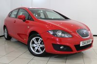 USED 2011 11 SEAT LEON 1.6 CR TDI ECOMOTIVE S AC 5DR 103 BHP FULL SERVICE HISTORY + CLIMATE CONTROL + CRUISE CONTROL + MULTI FUNCTION WHEEL + AUXILIARY PORT + 16 INCH ALLOY WHEELS