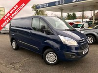 USED 2014 14 FORD TRANSIT CUSTOM 2.2 270 TREND LR P/V 1d 100 BHP Deep Impact Blue, Only 31,000 Miles, Finance Arranged.