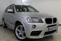 USED 2013 63 BMW X3 2.0 XDRIVE20D M SPORT 5DR 181 BHP BMW SERVICE HISTORY + HEATED LEATHER SEATS + CLIMATE CONTROL + PARKING SENSOR + BLUETOOTH + CRUISE CONTROL + MULTI FUNCTION WHEEL + 18 INCH ALLOY WHEELS
