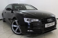 USED 2014 14 AUDI A5 1.8 TFSI S LINE BLACK EDITION 2DR AUTOMATIC 168 BHP AUDI SERVICE HISTORY + 0% FINANCE AVAILABLE T&C'S APPLY + HEATED LEATHER SEATS + SAT NAVIGATION + PARKING SENSOR + BLUETOOTH + CRUISE CONTROL + MULTI FUNCTION WHEEL + 18 INCH ALLOY WHEELS