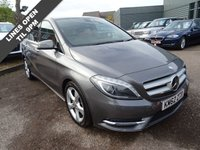 USED 2013 62 MERCEDES-BENZ B CLASS 1.6 B180 BLUEEFFICIENCY SPORT 5d AUTO 122 BHP Mountain Grey Metallic with contrasting Black Leather trim. Husband and wife ownership of vehicle with a Mercedes Benz service history backed up with the electronic print out and receipts of work. MOT dated till 27th January 2018.