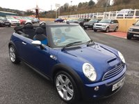 USED 2007 07 MINI CONVERTIBLE 1.6 COOPER S 2d 168 BHP Black & Blue leather sports seats stitched Blue, A/C, & ASB