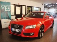 """USED 2008 08 AUDI A5 1.8 TFSI SPORT 2d 170 BHP Finished in Brilliant Red with black/ leather/suede seats.  Will be supplied with 12 months Mot (free of advisory notice) & a 6 month warranty which is extendable.  This A5 is fitted with Audi MMipower steering, remote locking, climate control, electric windows and mirrors,  parking sensors, CD Stereo, media port, 19"""" two tone alloy wheels and more,  and comes with a full service history done by Audi 7 times and kwik fit once, the current Mot runs till April 2018,"""