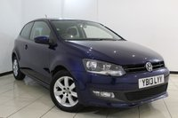 USED 2013 13 VOLKSWAGEN POLO 1.2 MATCH EDITION 3DR 59 BHP FULL SERVICE HISTORY + PARKING SENSOR + AIR CONDITIONING + RADIO/CD + AUXILIARY PORT + 15 INCH ALLOY WHEELS