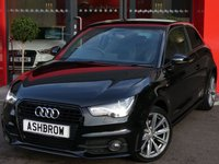 USED 2014 64 AUDI A1 1.6 TDI S LINE STYLE EDITION 3d 105 S/S UPGRADE BODY COLOURED EXTERIOR MIRRORS, DAB RADIO, BLUETOOTH PHONE & MUSIC STREAMING, LED XENON HEADLIGHTS WITH DAYTIME RUNNING LIGHTS, HEADLAMP WASHERS, BLACK GRILLE OPTIC, FULL S-LINE BODY KIT, FRONT FOG LIGHTS, 17 INCH 10 SPOKE ALLOYS, BLACK 1/2 LEATHER INTERIOR, SPORT SEATS, LEATHER MULTIFUNCTION STEERING WHEEL, AIR CONDITIONING, AUX INPUT, CD HIFI WITH SD CARD READER, TYRE PRESSURE MONITORING SYSTEM, 1 OWNER FROM NEW, SERVICE HISTORY, £0 ROAD TAX (99 G/KM)
