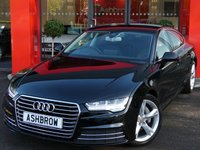 USED 2014 64 AUDI A7 SPORTBACK 3.0 TDI ULTRA SE EXECUTIVE 5d AUTO 215 S/S NEW SHAPE, UPGRADE TECHNOLOGY PACK INC HEAD UP DISPLAY MMI NAVIGATION PLUS WITH JUKEBOX COLOUR DIS AUDI CONNECT AUDI PHONE BOX, UPGRADE HIGH BEAM ASSIST, UPGRADE ELECTRIC FOLDING HEATED DOOR MIRRORS, HEATED FRONT SEATS, DAB RADIO, BLUETOOTH PHONE & MUSIC STREAMING, WIRELESS LAN & ONLINE MEDIA,FULL LED LIGHTS, DIRECTIONAL INDICATORS, FRONT & REAR PARKING SENSORS, ELECTRIC TAILGATE, FULL BLACK LEATHER, 1 OWNER FROM NEW, FULL AUDI SERVICE HISTORY