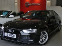 USED 2015 65 AUDI A4 2.0 TDI S LINE NAV 4d 190 S/S HDD SAT NAV, MMI WITH 2X SD CARD READERS, DAB RADIO, BLUETOOTH PHONE & MUSIC STREAMING, LED XENON LIGHTS, FRONT FOG LIGHTS, FULL S LINE BODY KIT, 18 INCH TWIN 5 SPOKE ALLOYS, REAR PARKING SENSORS, BLACK 1/2 LEATHER INTERIOR, SPORT SEATS WITH ELECTRIC LUMBAR SUPPORT, LEATHER MULTIFUNCTION STEERING WHEEL, CRUISE CONTROL, LIGHT & RAIN SENSOR WITH AUTO DIMMING REAR VIEW MIRROR, AUX INPUT, 1 OWNER FROM NEW, FULL SERVICE HISTORY, BALANCE OF MANUFACTURERS WARRANTY