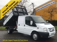 USED 2011 61 FORD TRANSIT Transit 2.4TDCi 115 350 D/Cab Caged Tipper- Rear Tool store, DRW Delivery TBA