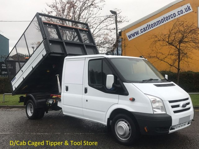 2011 61 FORD TRANSIT Transit 2.4TDCi 115 350 D/Cab Caged Tipper- Rear Tool store, DRW Delivery TBA