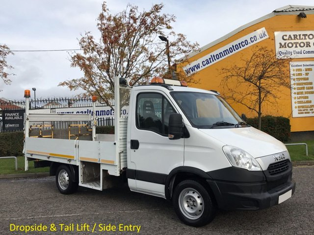 2012 62 IVECO-FORD DAILY  35S13 Mwb Dropside+ Tail-Lift Alloy body Low mileage Low Entry Dropwell Low Rate Finance + Free UK Delivery
