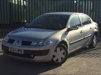 USED 2004 54 RENAULT MEGANE 1.9 EXPRESSION SPORT 16V 4d 120 BHP MOT 12/17 SILVER MET WITH FULL BLACK CLOTH. 16 INCH STEEL RIMS. COLOUR CODED TRIMS. AIR CON. R/CD PLAYER. 6 SPEED MANUAL. MOT 12/17. AGE/MILEAGE RELATED SALE. TEL: 01937849492
