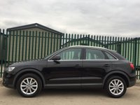 USED 2013 63 AUDI Q3 2.0 TDI SE 5d 138 BHP SAT NAV ALLOYS PDC ONE OWNER FSH NO FINANCE REPAYMENTS FOR 2 MONTHS STC. SATELLITE NAVIGATION. STUNNING BLACK MET WITH GREY CLOTH TRIM. CRUISE CONTROL. 17 INCH ALLOYS. COLOUR CODED TRIMS. PARKING SENSORS. BLUETOOTH PREP. AIR CON. MONITOR. R/CD PLAYER. 6 SPEED MANUAL. MFSW. MOT 11/18. ONE OWNER FROM NEW. FULL SERVICE HISTORY. FCA FINANCE APPROVED DEALER. 01937 849492