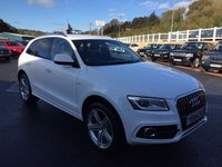 USED 2014 64 AUDI Q5 3.0 TDI QUATTRO S LINE PLUS 5d 242 BHP Ibis White, Black leather 20 inch triple spoke, Sat Nav & AMI Media ++