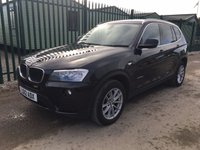 USED 2012 12 BMW X3 2.0 XDRIVE20D SE 5d 181 BHP LEATHER ONE OWNER SERVICE HISTORY NO FINANCE REPAYMENTS FOR 2 MONTHS STC. 4WD. STUNNING BLACK MET WITH FULL BLACK LEATHER TRIM. HEATED SEATS. CRUISE CONTROL. 17 INCH ALLOYS. COLOUR CODED TRIMS. PARKING SENSORS. BLUETOOTH PREP. CLIMATE CONTROL. R/CD PLAYER. 6 SPEED MANUAL. MFSW. MOT 10/18. ONE OWNER FROM NEW. FULL SERVICE HISTORY. FCA FINANCE APPROVED DEALER. TEL 01937 849492