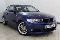 USED 2008 08 BMW 1 SERIES 2.0 123D M SPORT 2DR 202 BHP BMW SERVICE HISTORY + HEATED LEATHER SEATS + CLIMATE CONTROL + PARKING SENSOR + CRUISE CONTROL + MULTI FUNCTION WHEEL + 17 INCH ALLOY WHEELS