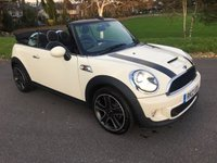 USED 2012 12 MINI CONVERTIBLE 2.0 COOPER SD 2d 141 BHP TOP SPEC IN WHITE WITH FULL BLACK LEATHER SAT NAV AND FSH