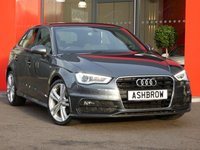 USED 2013 63 AUDI A3 SPORTBACK 1.6 TDI S LINE 5d 105 S/S UPGRADE CRUISE CONTROL, DAB RADIO, PHONE PREP WITH BLUETOOTH & MUSIC STREAMING, AUDI MUSIC INTERFACE FOR IPOD / USB DEVICES (AMI), MANUAL 6 SPEED, START STOP TECHNOLOGY, LED XENON LIGHTS, FRONT FOG LIGHTS, HEADLAMP WASHERS, 18 INCH 10 SPOKE ALLOYS, BLACK 1/2 LEATHER, SPORT SEATS, LEATHER FLAT BOTTOM MULTI FUNCTION STEERING WHEEL, DUAL CLIMATE AIR CON, LEATHER FRONT ARM REST, AUDI DRIVE SELECT, 1 OWNER FROM NEW, FULL AUDI HISTORY, £0 ROAD TAX (99 G/KM).