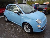 USED 2013 63 FIAT 500 1.2 CONVERTIBLE LOUNGE 3d 69 BHP Very Low Mileage, One Lady Owner from new, MOT until October 2018 (no advisories), Service History + Just Serviced by ourselves, Great on fuel! Only £30 Road Tax!