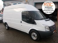 USED 2012 62 FORD TRANSIT LWB HIGH ROOF 350 RWD 6 SPEED 125 BHP FULLY INSULATED TO REAR 1 OWNER, FULL SERVICE HISTORY, 12 MTH RAC WARRANTY AND MOT