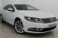USED 2014 64 VOLKSWAGEN CC 2.0 GT TDI BLUEMOTION TECHNOLOGY 4DR 175 BHP VW SERVICE HISTORY + HEATED LEATHER SEATS + SAT NAVIGATION + PARKING SENSOR + CRUISE CONTROL + MULTI FUNCTION WHEEL + CLIMATE CONTROL + ALLOY WHEELS