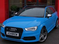 USED 2015 65 AUDI S3 SPORTBACK 2.0 TFSI QUATTRO 5d S TRONIC S/S CUSTOM COLOUR RIVIERA BLUE, UPGRADE PANORAMIC GLASS SUNROOF, UPGRADE TECHNOLOGY PACK INCLUDING MMI NAVIGATION PLUS WITH HARD DRIVE AUDI MUSIC INTERFACE & PHONE PREP WITH BLUETOOTH, UPGRADE PARKING SYSTEM PLUS FRONT & REAR, UPGRADE BLACK STYLING PACK, UPGRADE BANG & OLUFSEN HIFI, UPGRADE CRUISE CONTROL, UPGRADE 3D DESIGN BLACK INLAYS, UPGRADE COMFORT PACK INCLUDING AUTO DIMMING REAR VIEW MIRROR LIGHT & RAIN SENSORS & WINDSCREEN SUN BAND, UPGRADE 19 INCH WIND ALLOYS, UPGRADE FOLDING MIRRORS, FSH