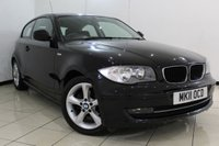 USED 2011 11 BMW 1 SERIES 2.0 116I SPORT 3DR 121 BHP SERVICE HISTORY + AIR CONDITIONING + MULTI FUNCTION WHEEL + RADIO/CD + ELECTRIC WINDOWS + 17 INCH ALLOY WHEELS