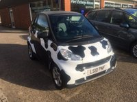 USED 2010 10 SMART FORTWO 0.8 PULSE CDI 2d AUTO 54 BHP DIESEL IN BLACK AND WHITE COW SPOTS APPROVED CARS ARE PLEASED TO OFFER THIS SMART FORTWO 0.8 PULSE CDI 2d AUTO 54 BHP DIESEL IN BLACK AND WHITE COW LOOK GRAPHICS AND A GREAT SPEC INCLUDING AIR CON,CD,ALLOYS,E/WINDOWS,C/LOCKING AND POWER STEERING WITH A FULL SERVICE HISTORY SERVICED AT 9K,19K,30K,41K,46K AND 52K.