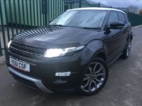USED 2011 61 LAND ROVER RANGE ROVER EVOQUE 2.2 SD4 DYNAMIC 5d 190 BHP SAT NAV LEATHER 20 ALLOYS PRIVACY FSH NO FINANCE REPAYMENTS FOR 2 MONTHS STC. 4WD. SATELLITE NAVIGATION. WHITE ROOF. STUNNING BLACK MET WITH FULL BLACK LEATHER TRIM. ELECTRIC MEMORY HEATED SEATS. CRUISE CONTROL. 20 INCH DYNAMIC ALLOYS. COLOUR CODED TRIMS. PRIVACY GLASS. PARKING SENSORS. REVERSING CAMERA. ELECTRIC TAILGATE. BLUETOOTH PREP. AIR CON. MULTIMEDIA SYSTEM. R/CD/DAB RADIO. 6 SPEED MANUAL. MFSW. MOT 11/18. ONE PREV OWNER. SERVICE HISTORY. FCA FINANCE APPROVED DEALER. TEL 01937 849492