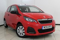 USED 2016 16 PEUGEOT 108 1.0 ACCESS 3DR 68 BHP AIR CONDITIONING + RADIO/CD + AUXILIARY PORT + ELECTRIC WINDOWS