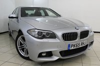 USED 2015 65 BMW 5 SERIES 2.0 520D M SPORT 4DR AUTOMATIC 188 BHP BMW SERVICE HISTORY + HEATED LEATHER SEATS + SAT NAVIGATION + PARKING SENSOR + BLUETOOTH + CRUISE CONTROL + MULTI FUNCTION WHEEL + 18 INCH ALLOY WHEELS