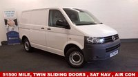 USED 2012 12 VOLKSWAGEN TRANSPORTER 2.0 TDi T28 BLUEMOTION TECHNOLOGY +51500 miles,Twin Side Loading Doors+Low Mileage+High Specification+Sat Nav+3 Seats+Air Con+Cruise Control+Security Bulkhead+Rear Parking Sensors+Full VW Service History+